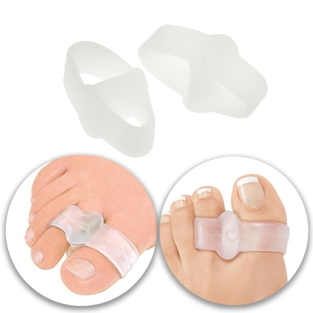 Foot Care Set Kit Lot of 2pcs Double Loops Silicone Gel Toes Separators Spacers Feet Stretchers Straighteners Bunions Correctors Correction Pads Cushions for Pain Relief and Tension Relieving Relaxing