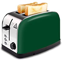 LATITOP Red 2-Slice Toaster Brushed Stainless Steel with Extra Wide Slot for Bagels, Small &Large Bread Slices, Removable Crumb Tray, Led Indicator, Auto Shut-off, 7 Shade Setting, High Lift Lever …