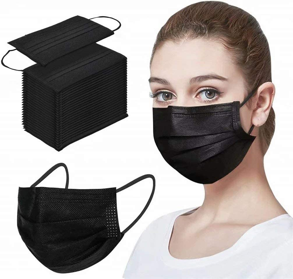 Deserthome Black Disposable Face Mack 3 ply Breathable Dust Proof for Adult, Men & Women 50 pcs