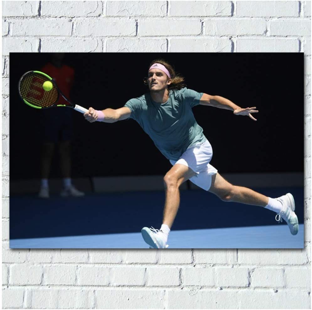 Amazon Com Yhyxll Greek Stefanos Tsitsipas Tennis Sport Posters And Prints Wall Art Wall Art Picture Canvas Art Painting For Home Room Decor 60x90cm No Frame Posters Prints