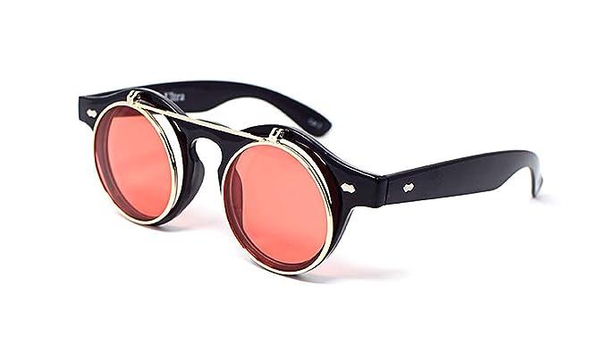 Ultra® Flip up cerchio Steampunk alta qualità occhiali occhiali retrò Cyber UV400 occhiali da sole rotondi (Montatura nera e lenti oro) A3QVi