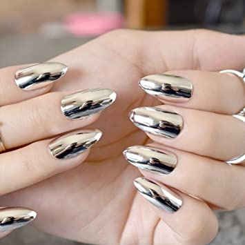 Amazon.com  24pcs Silver Metallic Stiletto Nails Medium