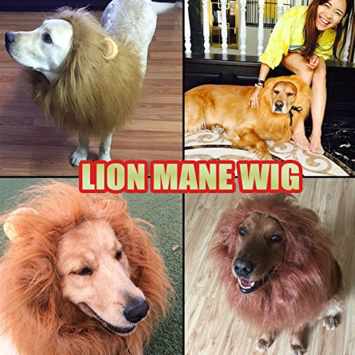 Price comparison product image Time Geezer Pet Costume Lion Mane Wig for Dog Halloween Dress up with Ears
