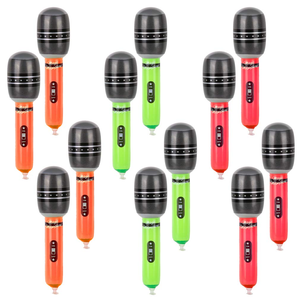 PROLOSO Microphone Balloons Inflatable Party Micphone Balloon Toys Mic Props for Pretend Play Party Favors Supplies 12 Pack