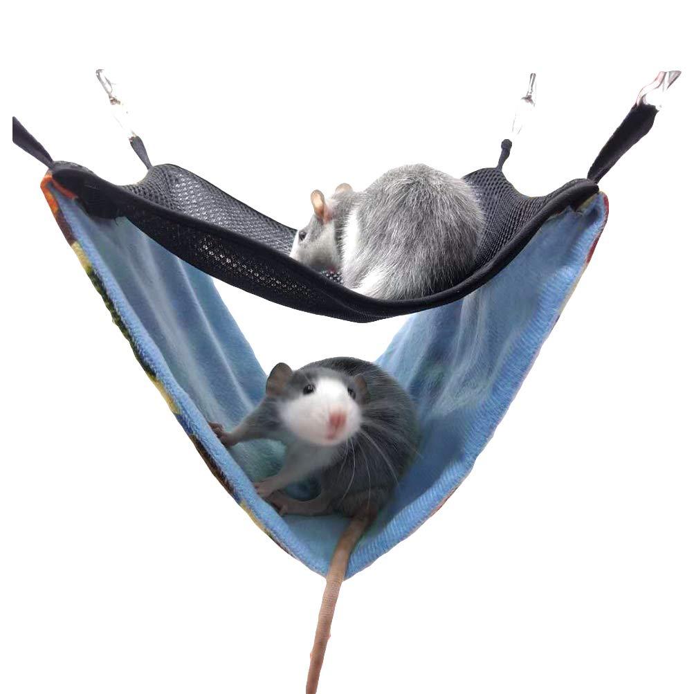 Yu-Xiang Hamster Double Mesh Hammock Squirrel House Pet Sleeping Bag or Hanging Guinea Pig Hamster Rat and Hedgehog (Leopard, L)