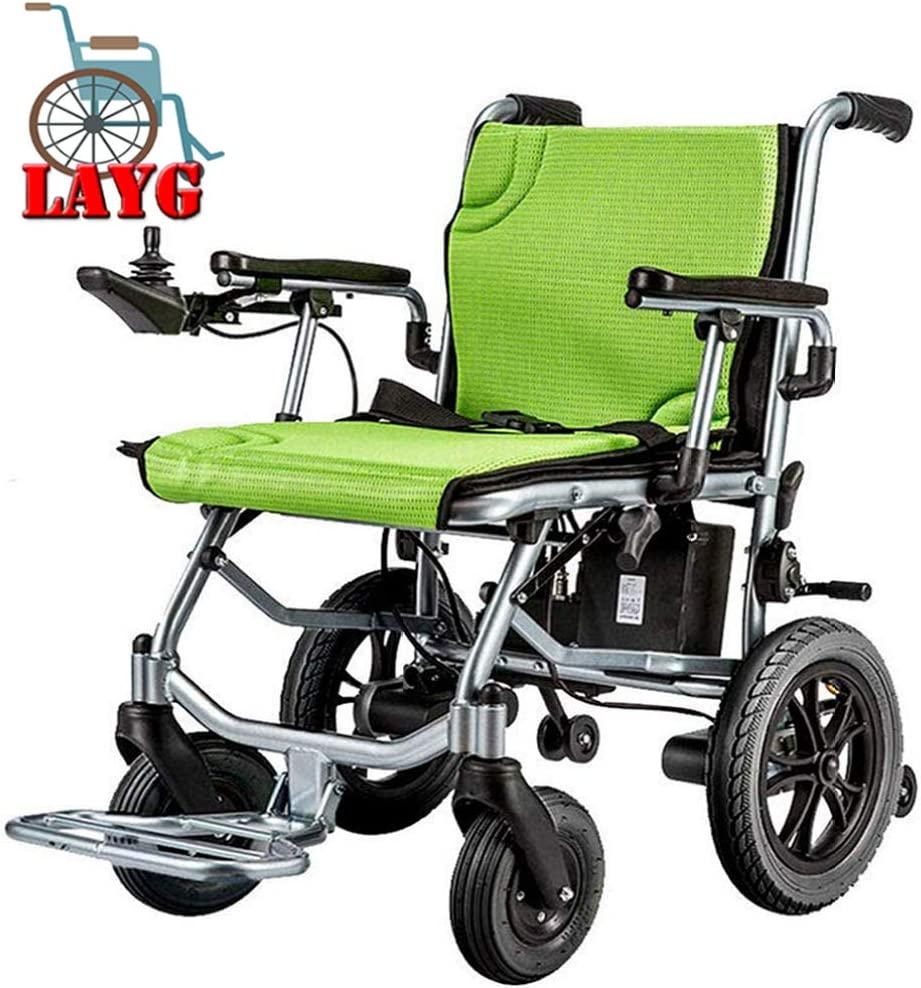 Silla de Ruedas Inteligente Silla de Ruedas Eléctrica Power Plegable Wheelchair Ligera de La Aleación de Aluminio Silla,Ortopedica,Joystick,Batería de Litio 10 Ah,20 km,para Discapacitados,Verde
