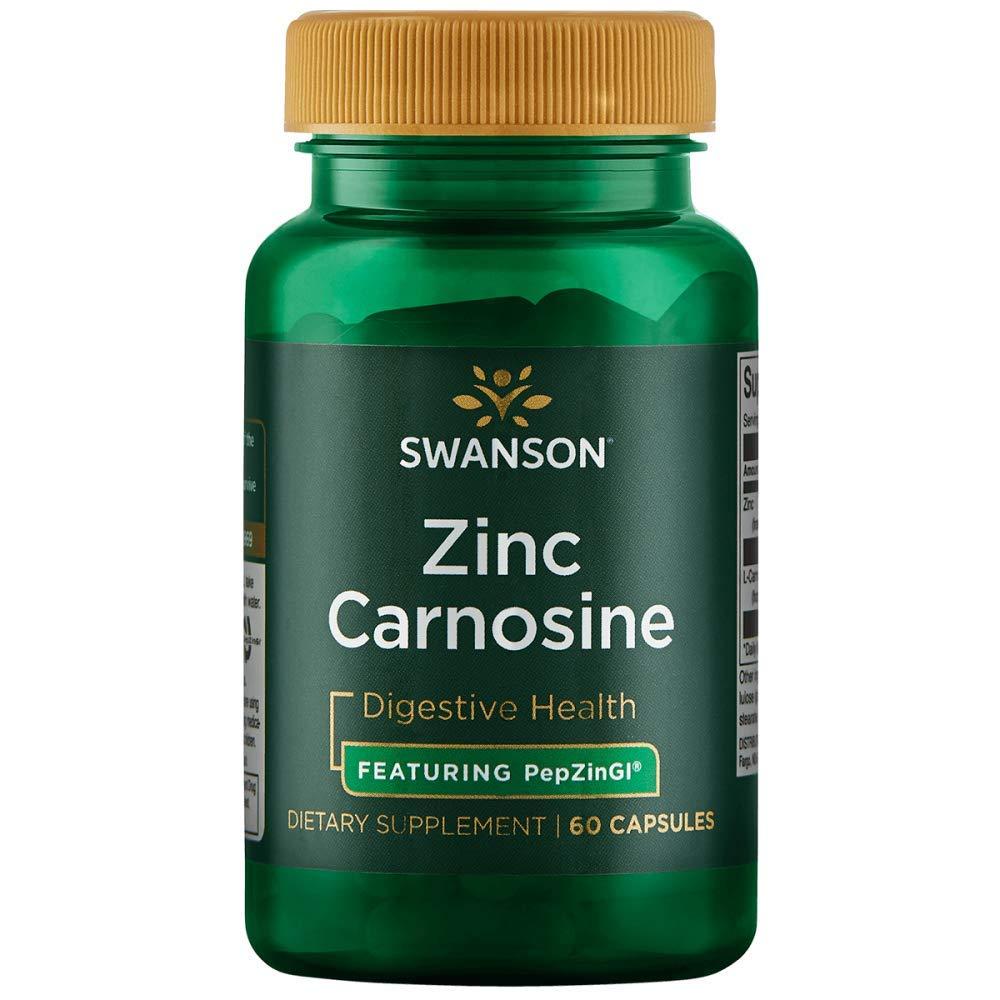 Swanson Zinc Carnosine (Pepzin Gi) Digestive Support Gastric Health 60 Capsules