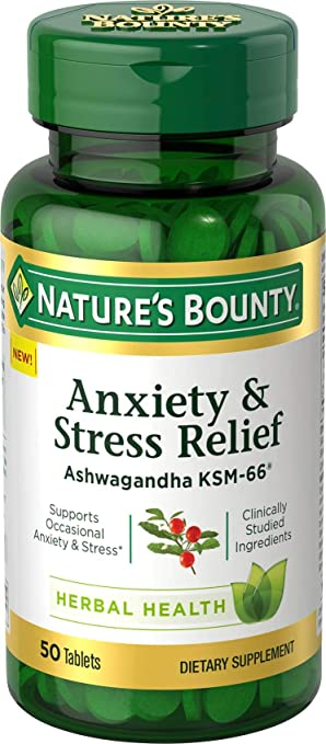 Nature's Bounty Anxiety and Stress Relief, Contains Ashwagandha and  L-Theanine for