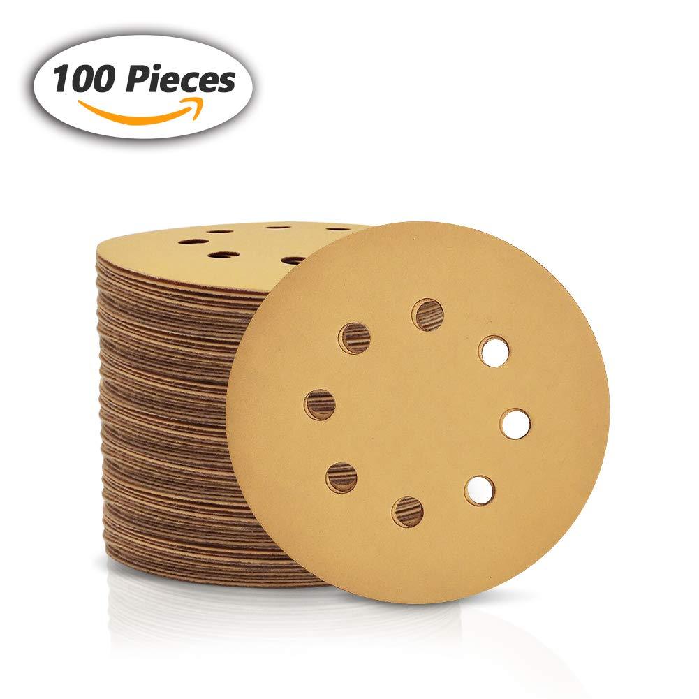 SPEEDWOX 100 Pcs 5 inch 8 Hole Sanding Discs 180 Grit Dustless Hook and Loop Sandpaper for Random Orbital Sander Yellow Finishing Discs for Automotive Woodworking
