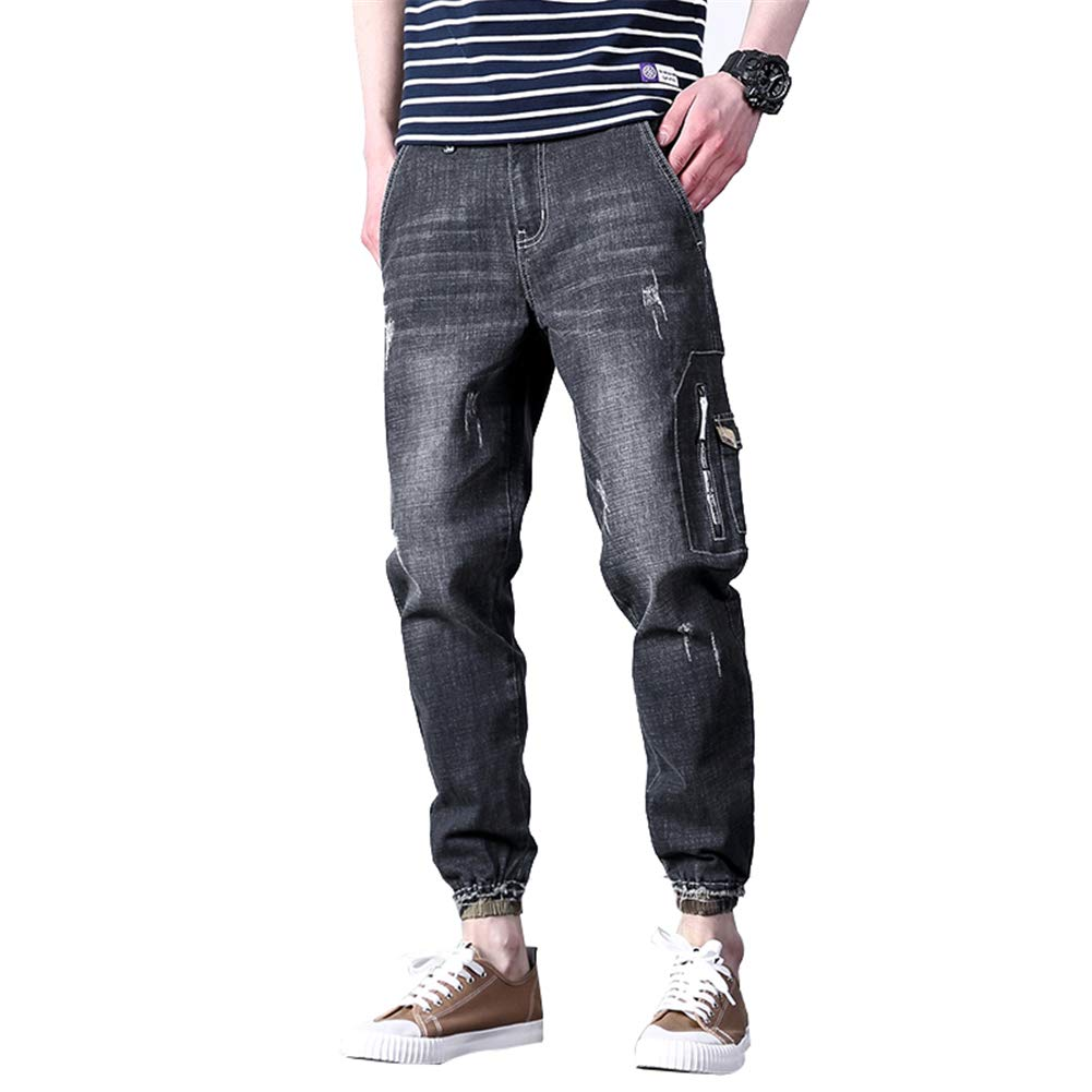 Spring Mens Loose Camo Retro Denim Pants Harem Stretch Taper Fit Cropped Jeans