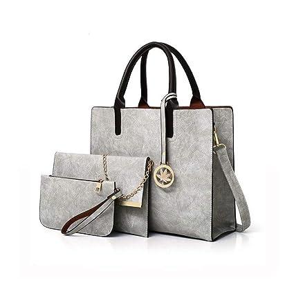 Set Borse Donna 3 pezzi, COOFIT Borsa Donna Tracolla Borsa Spalla Borse a Mano Moda Elegante Borsa Shopping Bag (grigio)