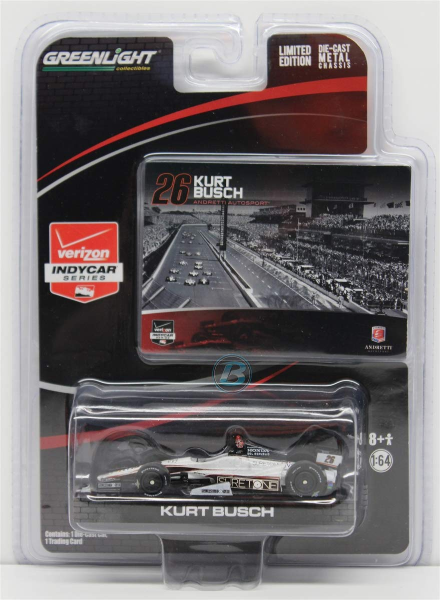 2014 Kurt Busch Indy 500 #26 Andretti Motorsports Suretone Honda 1//64 Diecast Greenlight Light Collectable Diecast with Trading Card