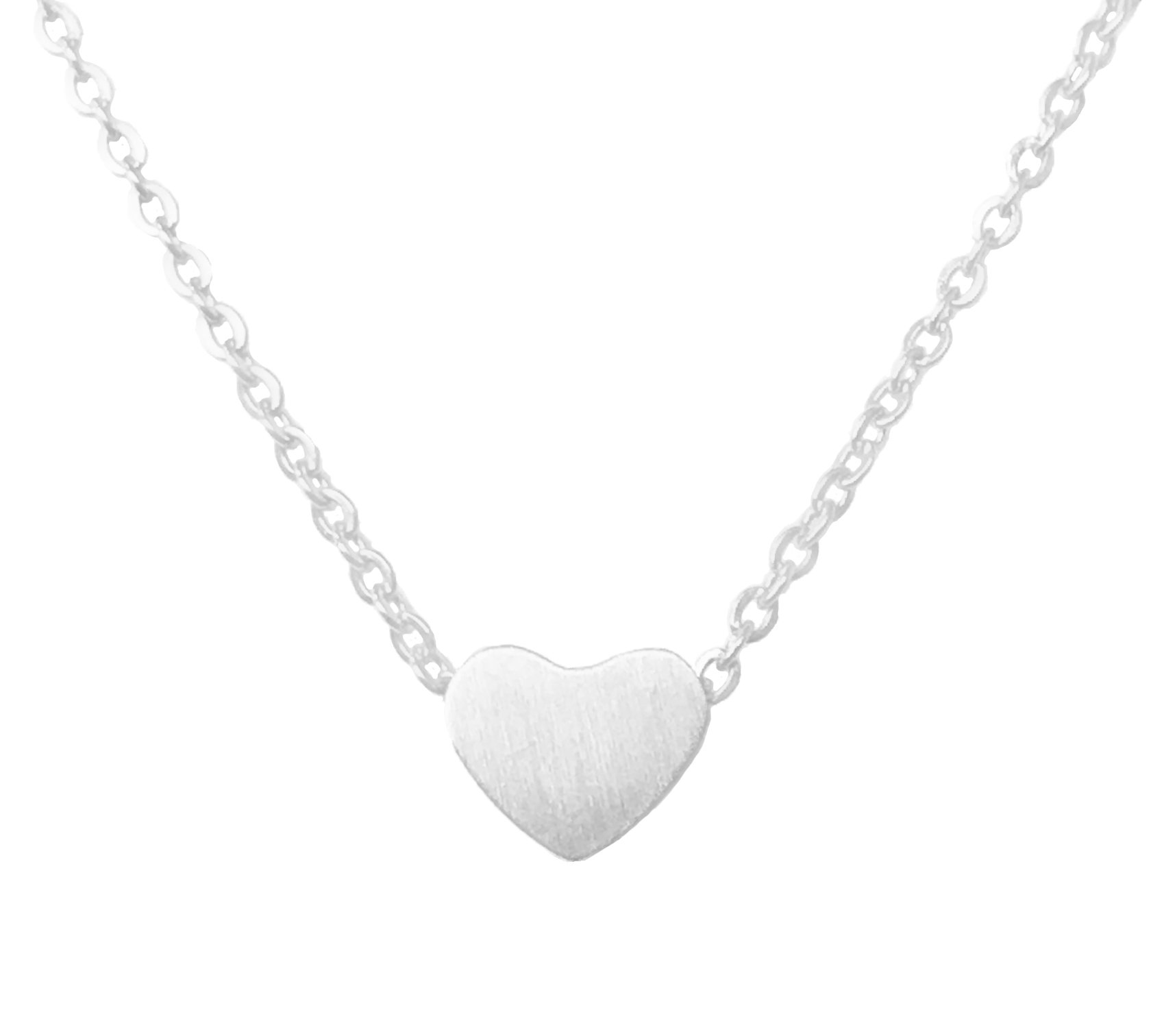 Altitude Boutique Simple Heart Necklace for Her, Pendant Love Choker or Long Style (Silver)