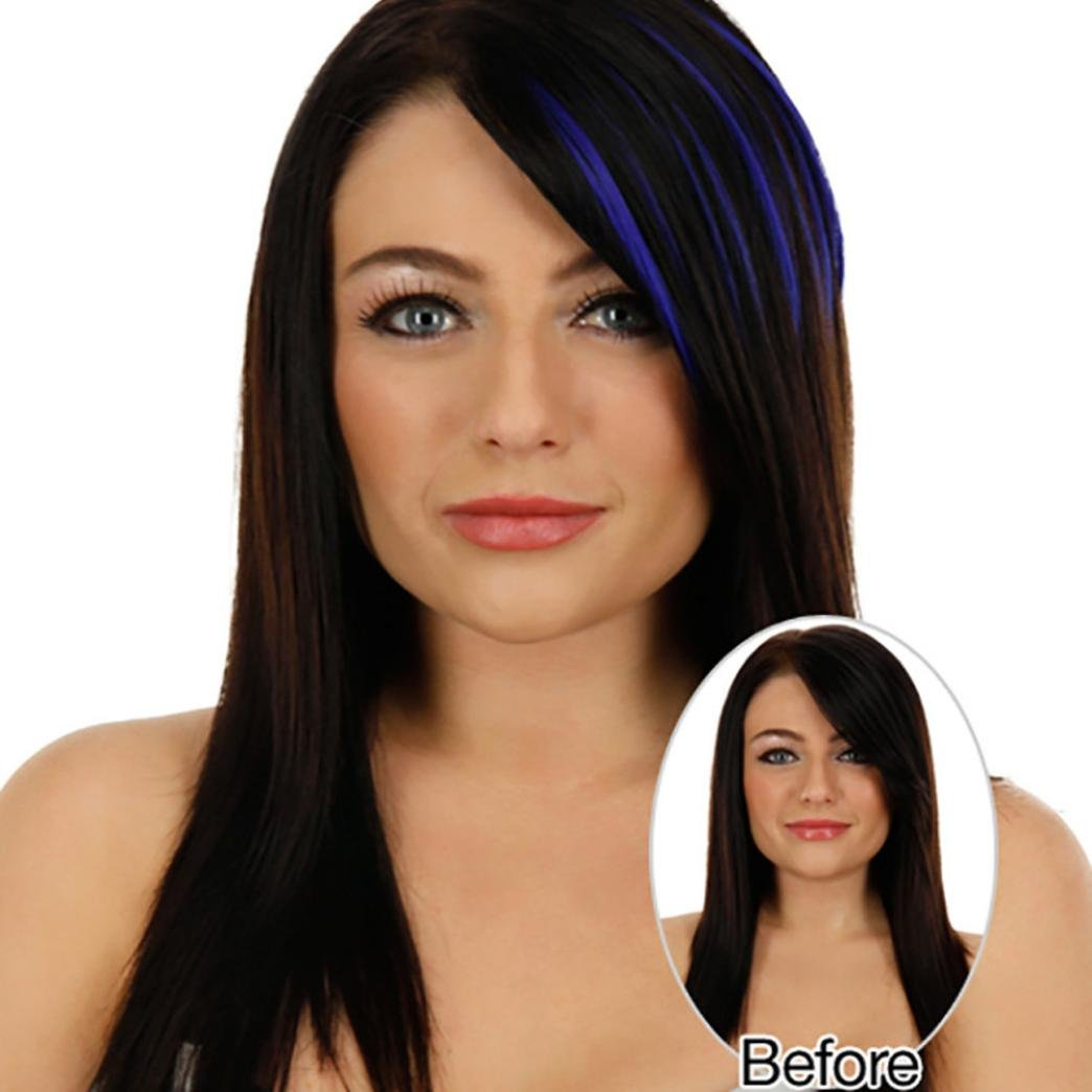 CYCTECH New Popular Women Natural Clip In Front Hair Bang Fringe Hair Extension Piece Thin Synthetic Hairpieces Hairdressing (Blue)