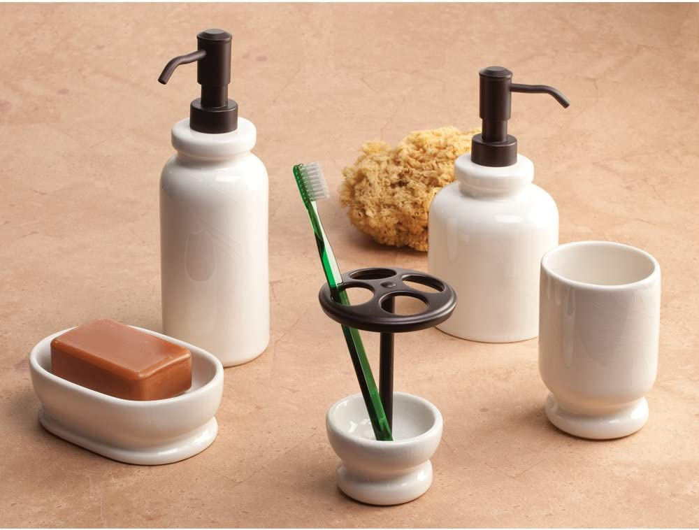 Ivory InterDesign Cr/ème Crackle Ceramic Bar Soap Dish for Bathroom Vanities Kitchen Sink