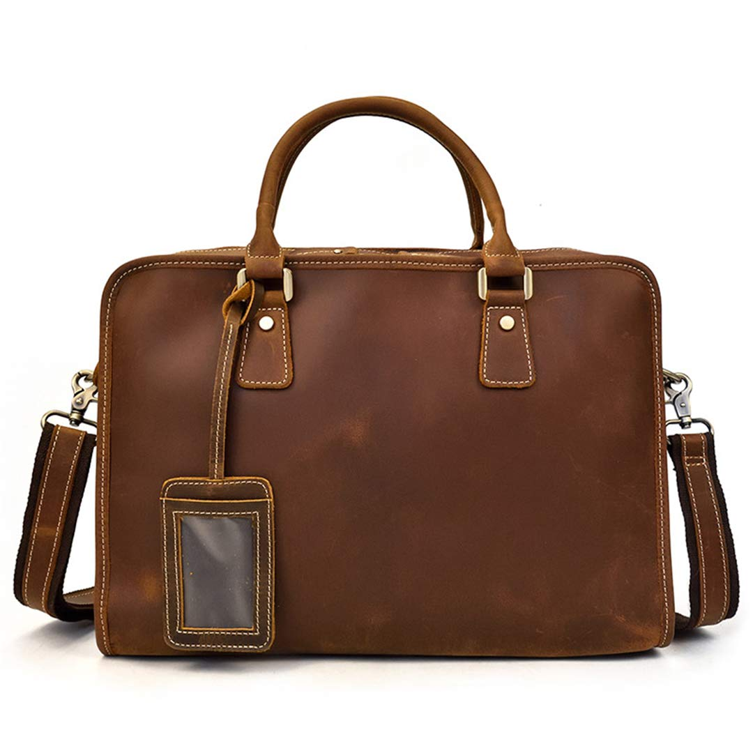 Men Crazy Horse Leather Laptop Bag Three Layer 15.6 Briefcases Durable Work Tote Office Business Shoulder Bag Brown