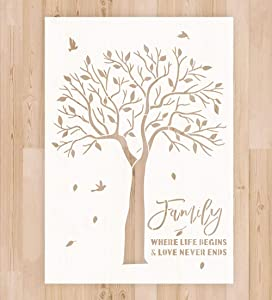 """Stencil for Painting on Canvas Wood - A4 Size 8.3""""x11.7"""" Reusable Mylar Drawing Stencil Template for Wood Signs, DIY Home Decor and Art Craft Drawing, Tree Stencil"""