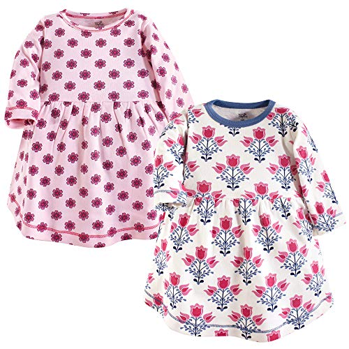 (Touched by Nature Baby Girl Organic Cotton Dresses, Abstract Flower Long Sleeve 2-Pack, 0-3 Months)
