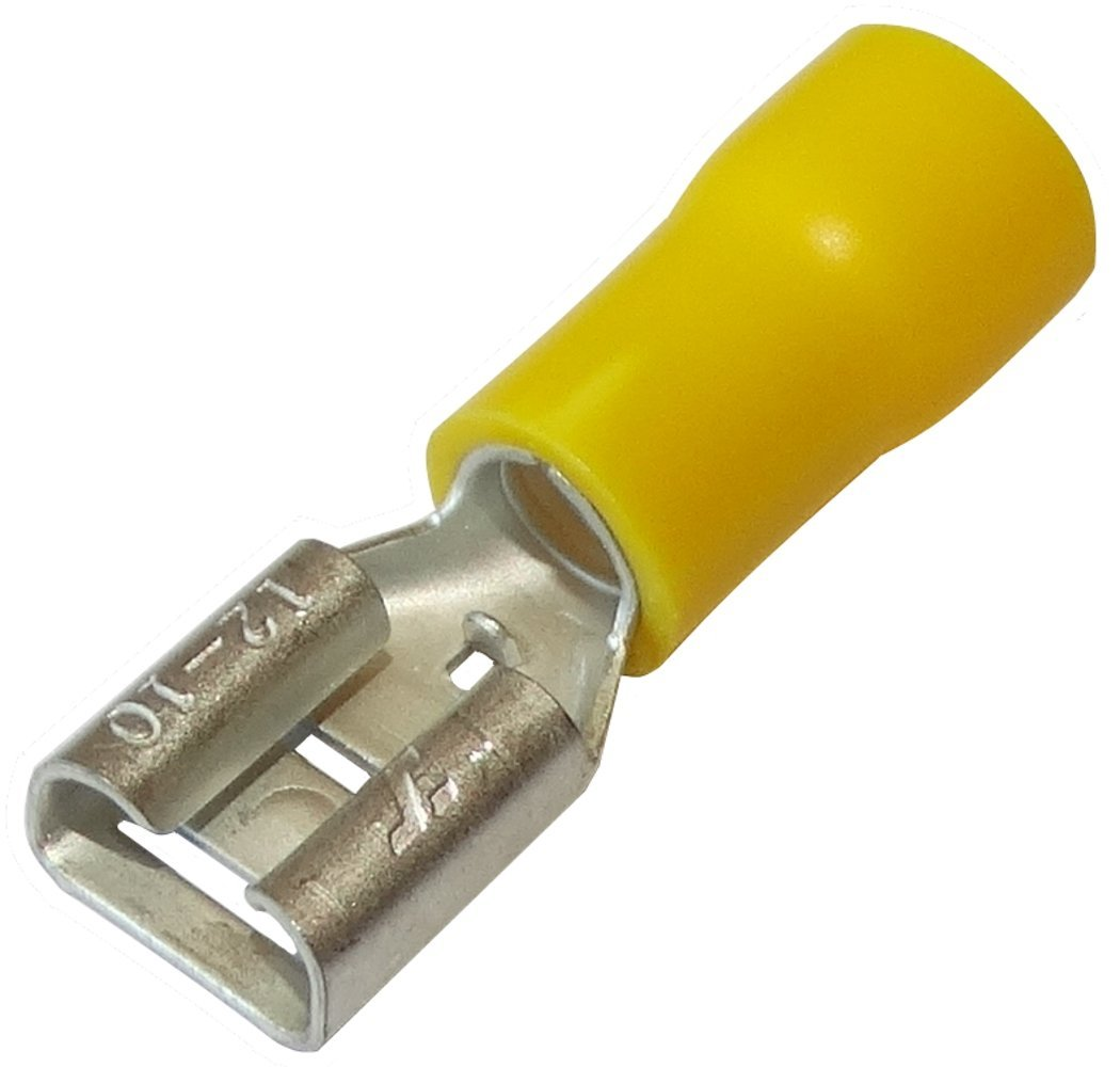 10 x Kabelschuhe Kabelschuh weiblich flach 6.3mm 0.8mm 2.5-6mm2 Gelb isoliert Aerzetix Klemme