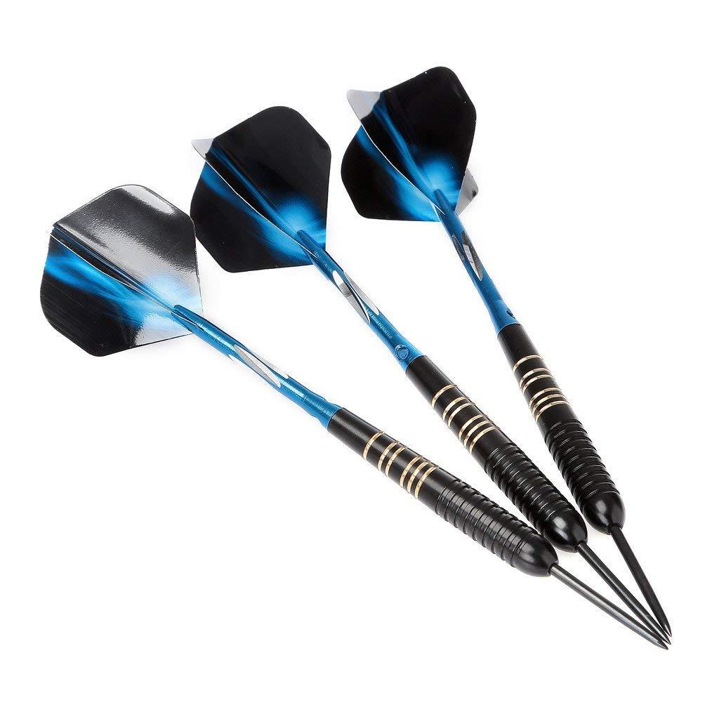 Crazy-m 3 St/ück Profi dartpfeile blau Steeldarts dartscheibe 23 g Dartset Turnier Steel Tip Dartpfeile Set Professionelle Darts mit pu Case Schwarze Beschichtung Messing Pet-Fl/üge