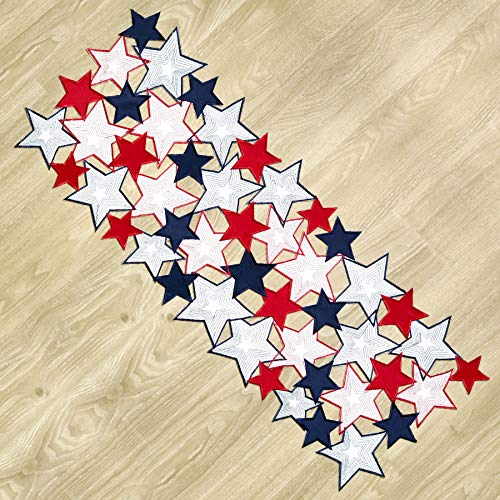 Americana July 4th Celebration Fabric Cutwork Table Runner (Stars Cutwork Runner)