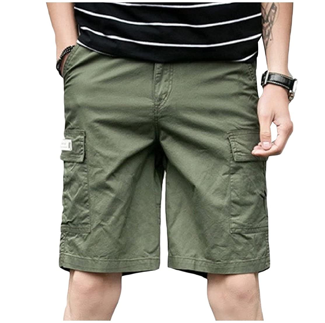 YUNY Mens Big and Tall Straight-Fit Thin Solid Cargo Half Pants Army Green XS