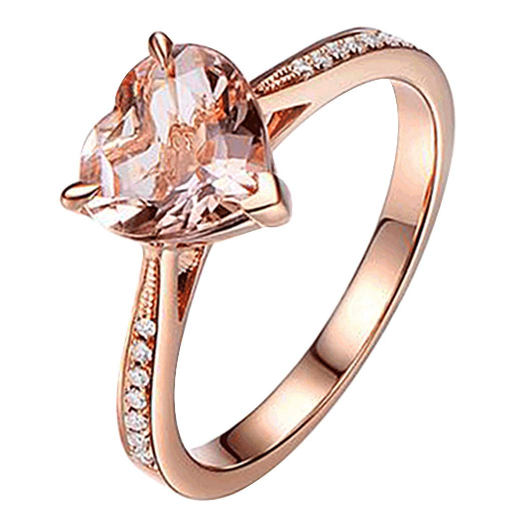 Booboda JJZ212 Women's Creative Fashion Love Morgan Diamond Ring, Colored Zircon Love Ring(Rose Gold10#)