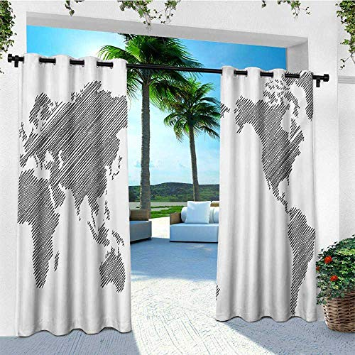 World Map, Outdoor Curtain panels Set of 2, Sketchy Striped Continents Cartography Geography Countries Worldwide Art, Outdoor Curtain Set for Patio Waterproof W96 x L96 Inch Charcoal Grey White