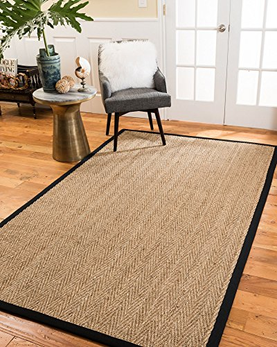 NaturalAreaRugs Four Seasons Seagrass Area Rug, Handmade, 100% Seagrass, Non-Slip Latex Back, Durable, Stain Resistant, Eco-Friendly (8'x10') Black Border (Rug Border Seagrass)