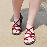 4c63adbc4e4937 Summer Braided Rope Flat Sandals Casual Vacation Beach Shoes For  Wonmen Teenager Girls By Everelax Red 6B(M)US