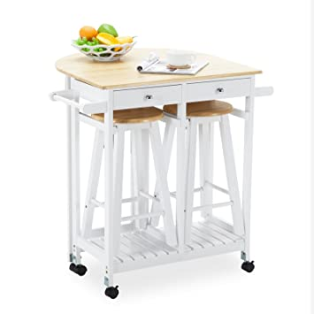 Charmant Mecor Rolling Kitchen Island Cart Trolley With 2 Stools And 2 Drawers White