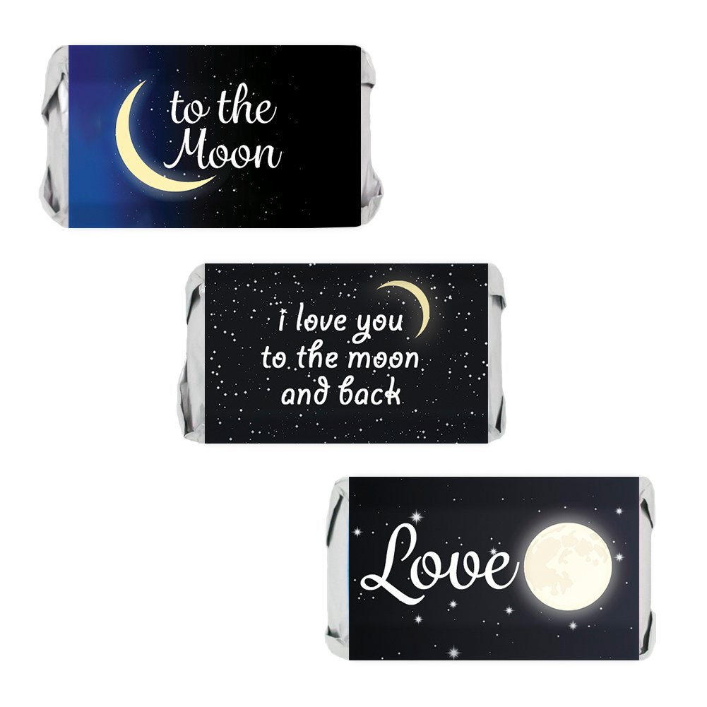 I Love You to The Moon and Back Party Mini Candy Bar Wrapper Stickers, 54 Count