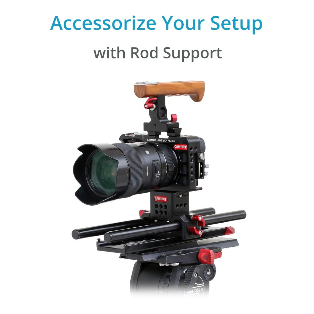 CH-A63-C CAMTREE Hunt CNC Aluminum Cage Stabilizer for Sony A6300 // A6500 Camera Professional Cage with Wooden Top Handle 15mm Quick Release Rod Support /& Dovetail Tripod Plate