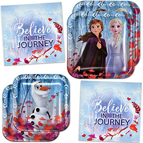 Frozen Cake Supplies (Disney Frozen 2 Movie Birthday Party Supplies Tableware Set Include 8 9