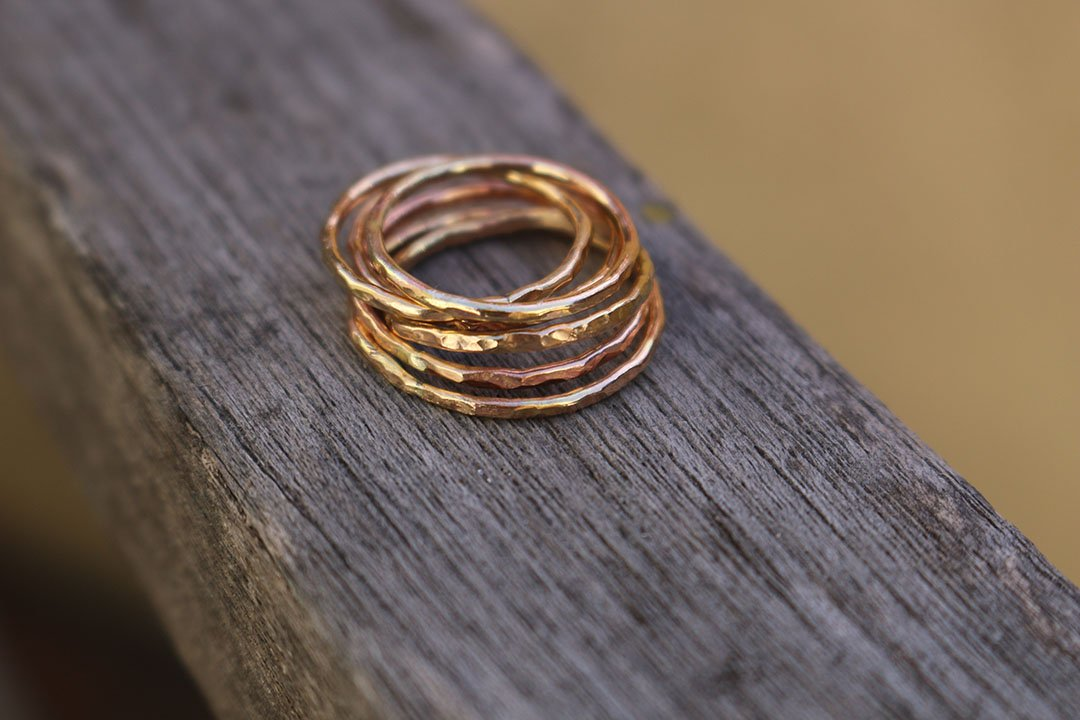 14K gold filled thin hammered ring band size 10 sold individually