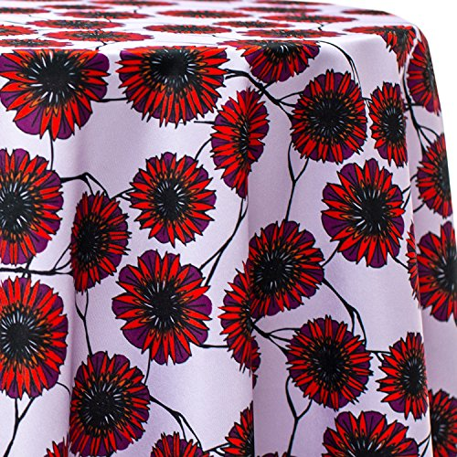 Ultimate Textile Zinnia Flower Petals 120-Inch Round Patterned Tablecloth -