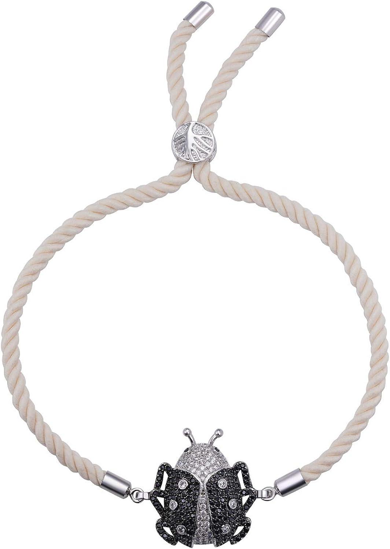 PAPAGENA Fashion Black Ladybird Charm Bracelet Slider Rope Bracelet Womens Jewelry