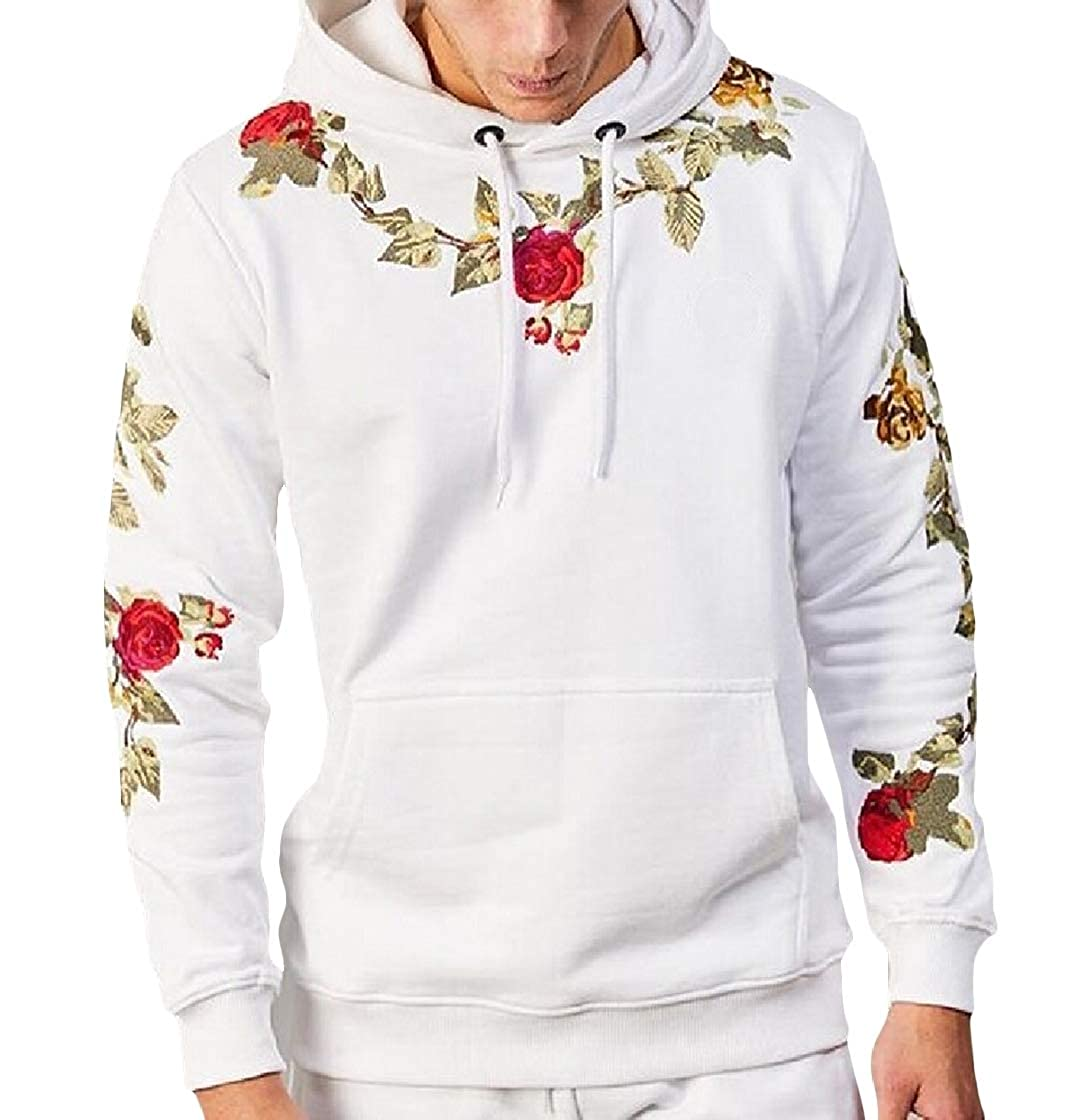 TaoNice Men's Long-Sleeved Embroidery Pocketed Luxury Hood Sweatshirt