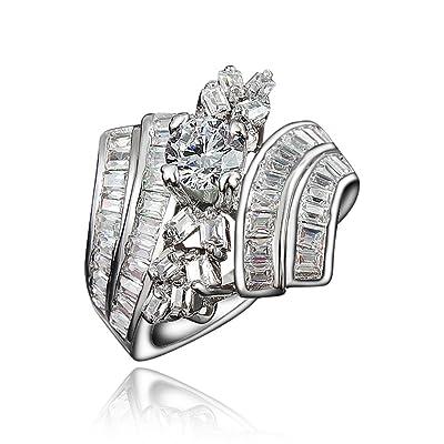 AmberMa Plaqué or 18K Bijoux Bijoux Designs Mode Bagues de fiançailles Mariage Cadeaux d'anniversaire Femme Bandes