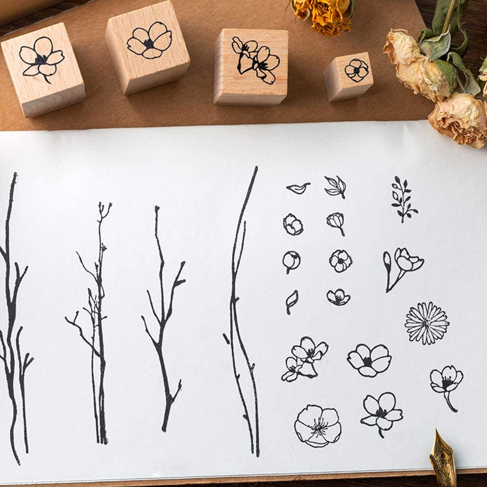Diary and Craft Scrapbooking Dizdkizd 8 Pieces Wood Mounted Rubber Stamps Plant and Flower Decorative Wooden Rubber Stamp Set for DIY Craft
