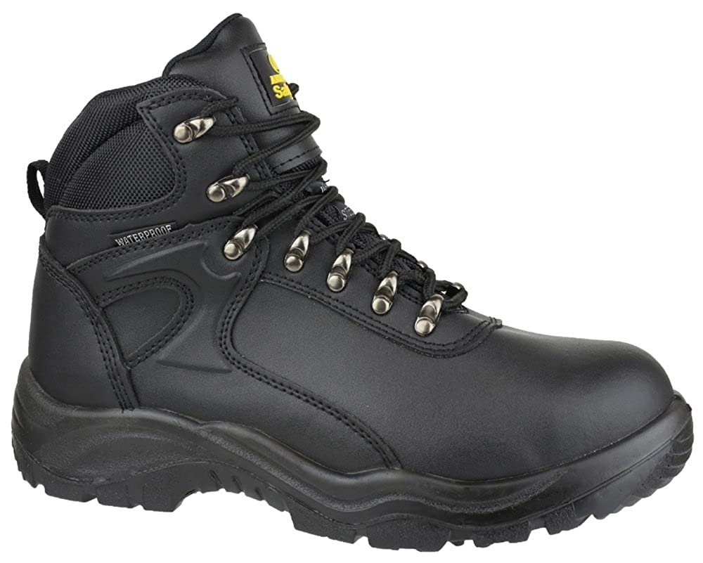c29f9967549 Mens Waterproof Safety Work Boots / Black Leather Steel Toe Cap ...