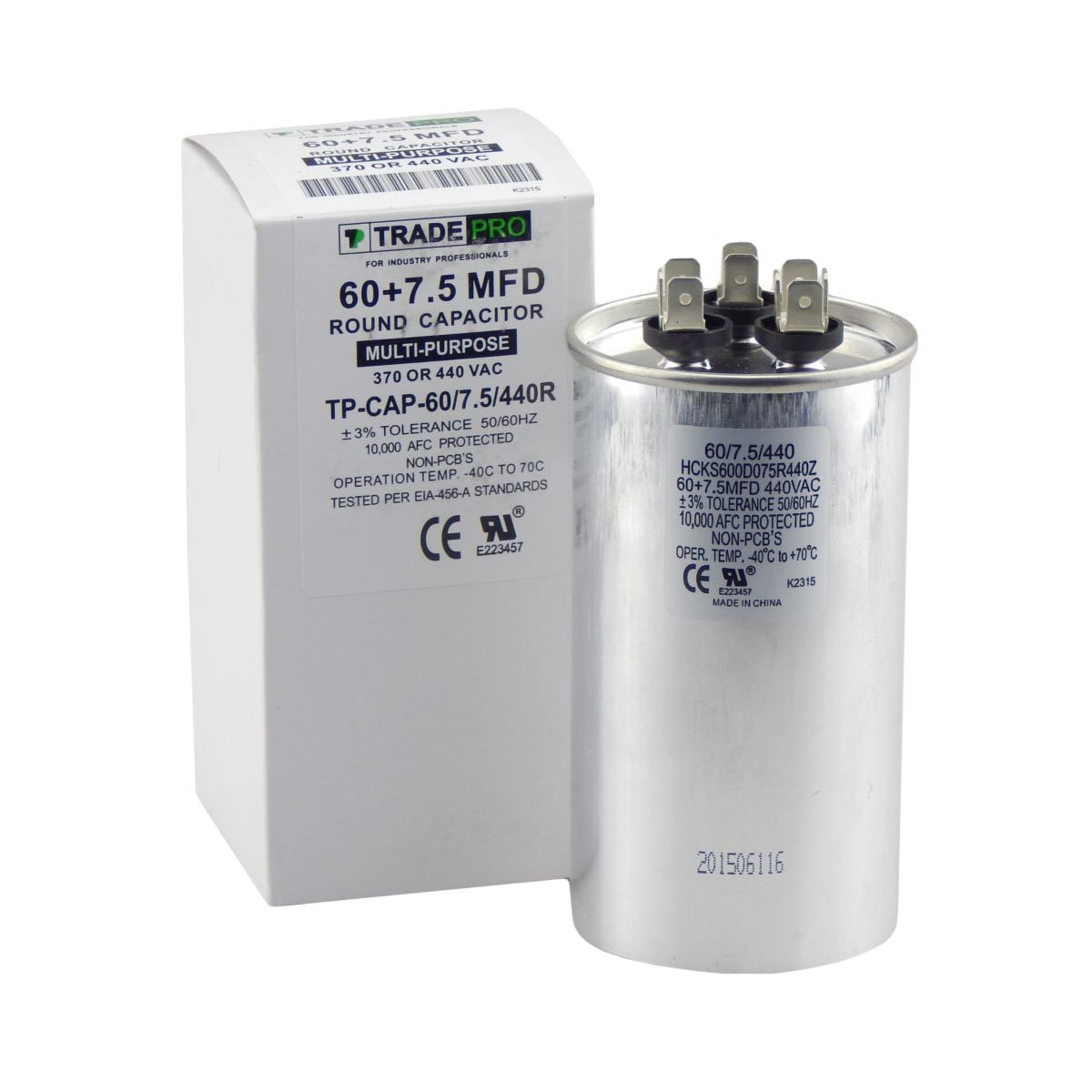 TradePro 60/7.5 MFD Replaces Both 440 and 370 Volt Round Run Capacitors Dual Capacitor 60 + 7.5