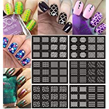 Ejiubas 12 Pcs 24 Different Designs Easy Nail Art Nail Vinyls Nail Stencil Sheets Stencil Stickers Set