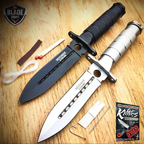 2 PC 8'' Tactical Fishing Hunting BLADE CAMPING Knife + Survival Kit + SHEATH NEW + free eBook by ProTactical'US by new