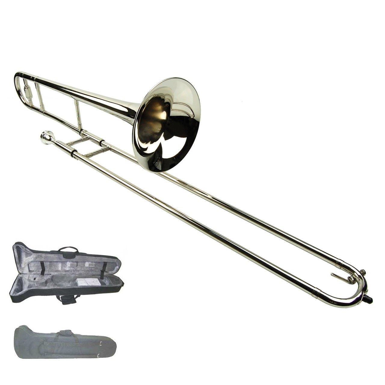 Merano Silver Nickel B Flat Tenor Slide Trombone with Zippered Carrying Case WD427SV
