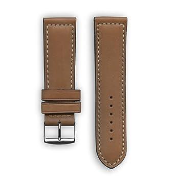 Deportes francés piel con bordado de color blanco: marrón de repuesto correa de reloj –