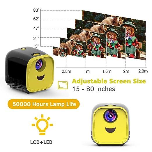 LICHUXIN Mini proyector, Niños USB Proyector portátil 1000 ...