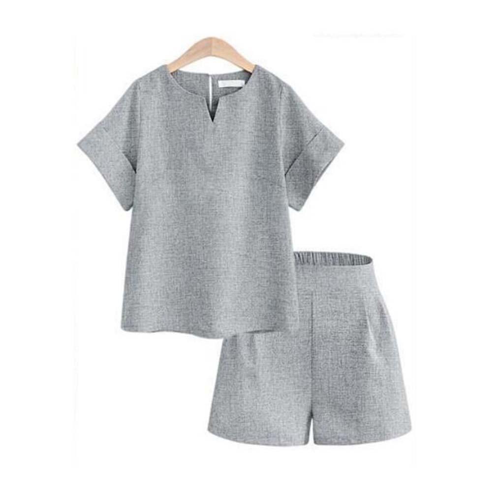 Huateng Damen Freizeit Set Sommer Comfort Cool Kurzarm Shorts Zweiteiler Grau Dunkelblau