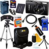 Canon PowerShot ELPH 360 HS Wi-Fi Digital Camera with 12x Zoom & HD video (Black) International Version + Battery & AC/DC Charger + 11pc 32GB Deluxe Accessory Kit w/HeroFiber Cloth