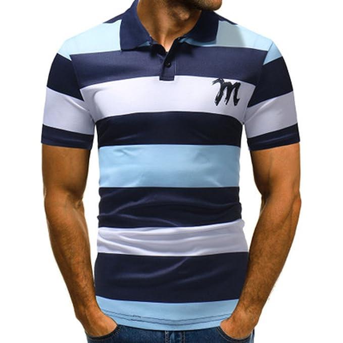 ea6bfbb59d84 Poloshirt Herren T Shirt Top Sommer Kurzarm Polohemd Baumwolle Slim Fit  Polo Shirt Streifen Splice T-Shirt Hemden Freizeithemd Zhen+ Klassisches  Männer ...